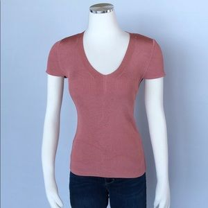 WHBM Salmon Color, Shine, Knit Top, Cap Sleeve S